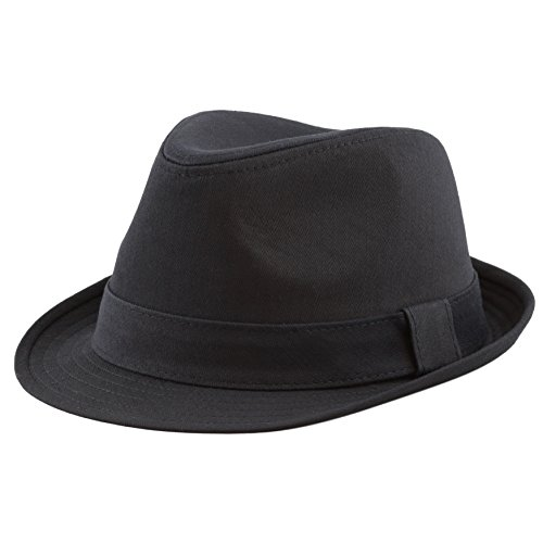 The Hat Depot Unisex Cotton Twill Herringbone Fedora Hat (L/XL, Black)