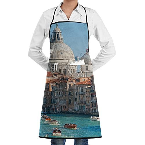 LOSNINA Delantal de cocina impermeable para hombres delantal de chef para mujeres restaurante de jardinería BBQ cocinar ,Venecia, vista del Gran Canal y la Basílica de Santa Maria Della Salute. Italia