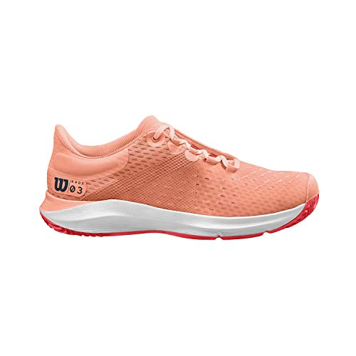 WILSON Damen KAOS 3.0 Clay W Tennisschuhe, Orange/Weiß/Rot, 38 1/3 EU