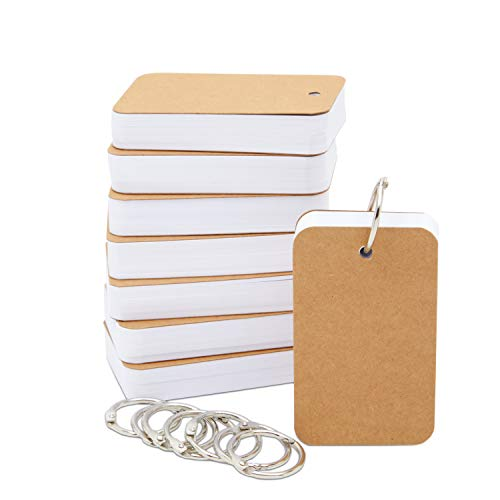 Blank Flashcards with Binder Rings (2.2 x 3.5 In, 8 Pack)