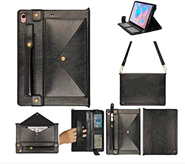 Samsung Tab S6 Case Locase 10 5 Galaxy SM T860 Case For SM T865 Handbag Slim Fit Smart Cover With Pencil Holder Hand Strap 4 Card Holder Slot Adjustable Shoulder Strap Kickstand Tab S6 10 5 Cover