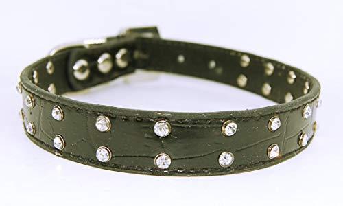 Pet Palace® Collier en Cuir PU Imitation Crocodile avec Boucle en Diamant et étiquette de sécurité LED Clignotante