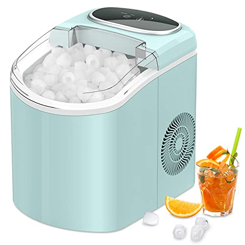 Ice Maker Machine Countertop, Portable Ice Maker with 26lbs/24Hrs, 9 Cubes Ready in 7 Minutes, Self Cleaning, Transparent Window, LifePlus Ice Cube Maker for Home Kitchen Office Bar