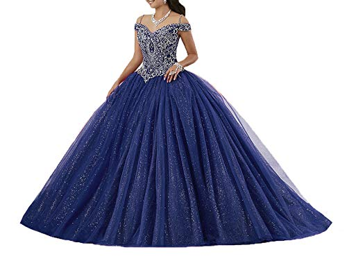 Graceprom Women's Puffy Crystal Quinceanera Gown