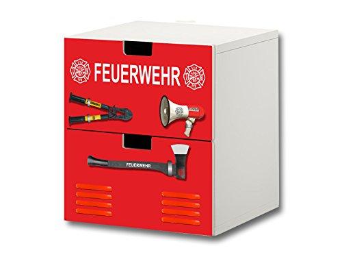 Stikkipix Feuerwehr Möbelsticker/Aufkleber - S2K20 - passend für die Kinderzimmer Kommode mit 2 Fächern/Schubladen STUVA von IKEA - Bestehend aus 2 passgenauen Möbelfolien (Möbel Nicht inklusive)