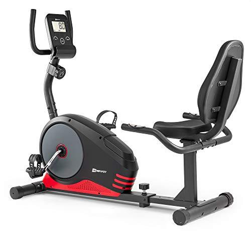 Hop-Sport Root Liegeergometer - Liegeheimtrainer mit Handpulssensoren, 9,5 kg Schwungmasse, 8 Widerstandsstufen - Sitzergometer max. Benutzergewicht 120 kg (Rot)
