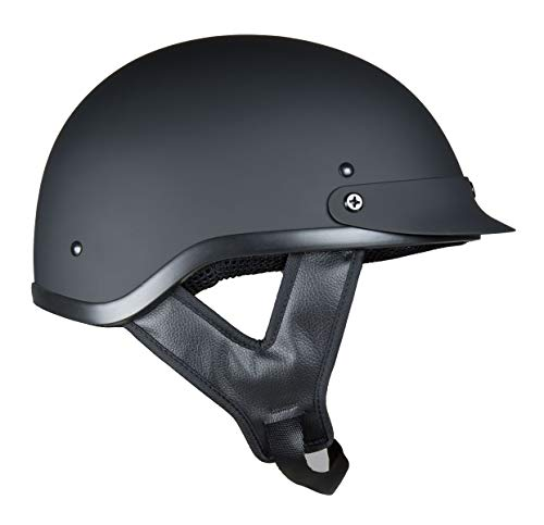 Fuel Helmets SH-HHFL66 Unisex-Adult Deluxe Shorty DOT Approved Motorcycle Half Helmet (Flat Black, Large)