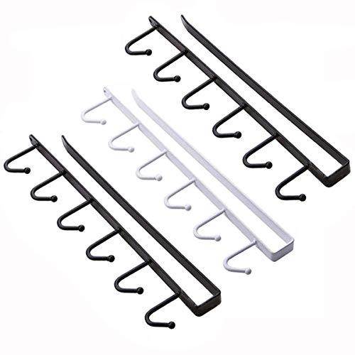 YFOX Ganchos multifunción de 3 piezas, que se pueden colocar en el soporte para bebidas. Gancho para ropa o baño, no requiere taladrar, capacidad para 18 tazas (negro y blanco).