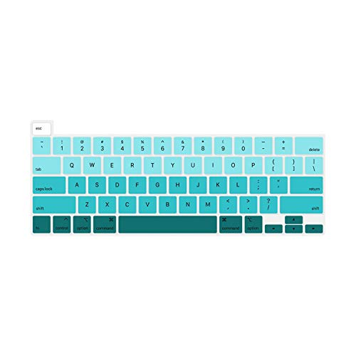 Silicone Keyboard Cover Protector for MacBook New Pro 16 Inch 2020 Release with Touch Bar and Touch ID Model A 2141 Skin-Fade Green-