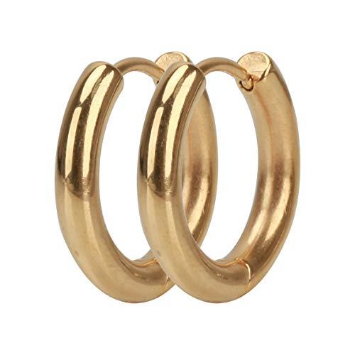 [silver KYASYA]太め 両耳 幅3mm ステンレス316L メンズ フープピアス シルバー ゴールド ブラック リングピアス 金 銀 黒 316Lピアス フープ (ゴールド(GOLD) 内径:10mm)
