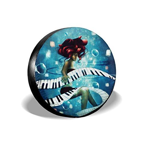 WH-CLA Spare Wheel Cover Piano Girl Protectores De Ruedas Impermeables A Prueba De Polvo Cubierta De Neumático De Repuesto Cubierta Universal De 4 Tamaños para Llantas De Ruedas para CAM 17in/80~83cm