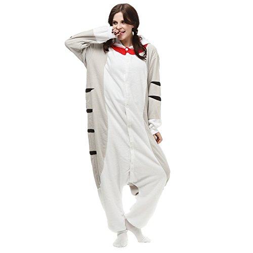 Adult Animal Cosplay Costume Cheese Cat Onesie for Men Women One Piece Pajamas Halloween Small