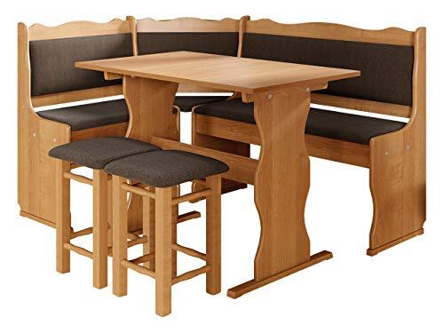 Eckbankgruppe Miki, Erlenholz, Eckbank Gruppe besteht aus Kücheneckbank, 2X Hocker, Tisch, Farbauswahl, Esszimmer Sitzbank (Erle, Peru 05)