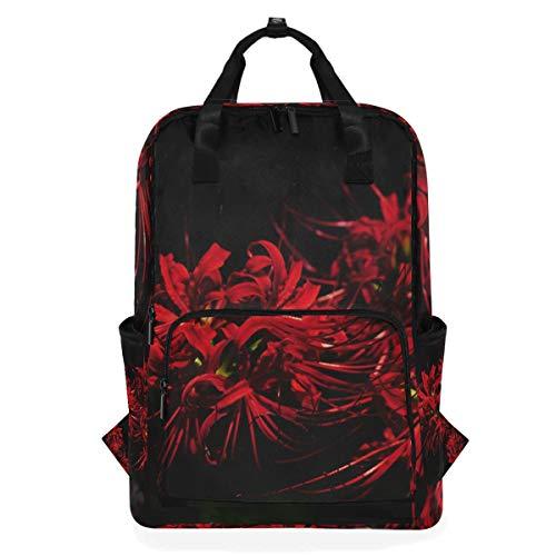 LUPINZ Red Equinox Rucksack mit Blumenmotiv, strapazierfähig, Schulranzen