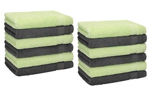 Betz 12 Stück Gästehandtücher Gästehandtuch Palermo 100% Baumwolle Größe 30x50 cm Handtuch Gästetücher Set Farbe anthrazit und grün