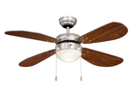 Deckenventilator mit Beleuchtung Classic, Gehäuse Nickel, Flügelfarbe Walnuß, 105 cm