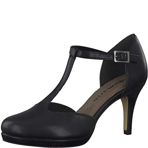 Tamaris Damen Pumps, Frauen Riemchen Pumps, Spangenpumps t-spange elegant edel Business-Schuh Office büro weiblich Lady,Black MATT,36 EU / 3.5 UK