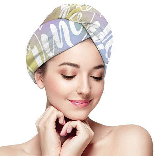 HomeLEE Serviette à séchage rapide pour cheveux Turban, petite princesse écrite avec un mini cœur couronné et motif courbes infinies - Bonnet de douche absorbant