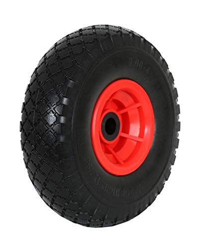 Frosal PU Rad Sackkarre 260 mm 3.00-4 | Nabe 20mm/60mm | Sackkarrenrad Vollgummi | Ersatzrad Bollerwagen pannensicher | Reifen (1 Stück)