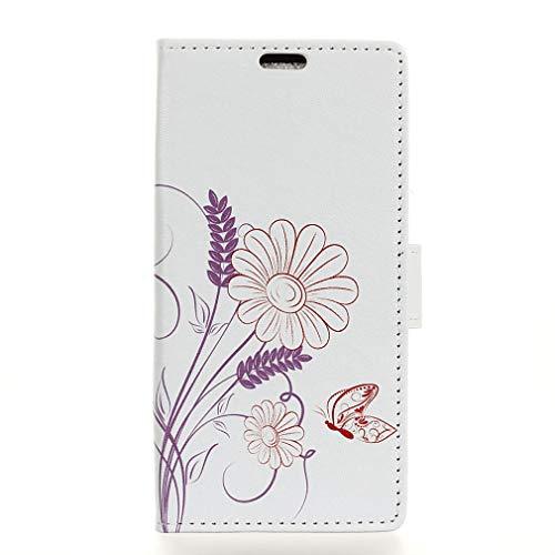 LMFULM® Hülle für Alcatel 3 2019 / 3L 5034D (5,94 Zoll) PU Leder Magnet Brieftasche Lederhülle Schmetterling Liebe Blumen Muster Stent-Funktion Ledertasche Flip Cover für Alcatel 3 / 3L
