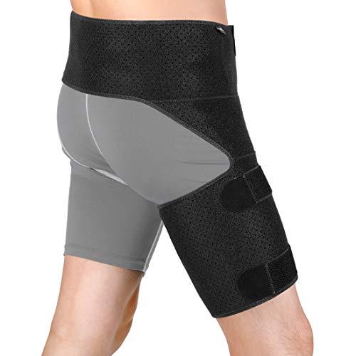 DOACT Cinturón compresión compresión soporte ingle, vendaje de compresión de abrazadera envoltura ingle Neopreno tamaño ajustable, recuperación de lesiones de ciática de cadera y alivio del dolor