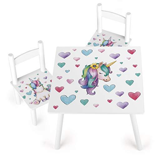 Leomark Conjunto Infantil de Mesa y Dos Sillas Madera Juego de Muebles Infantiles para Cuarto de Los Niños Estable Diversión y Aprendizaje Unicornio