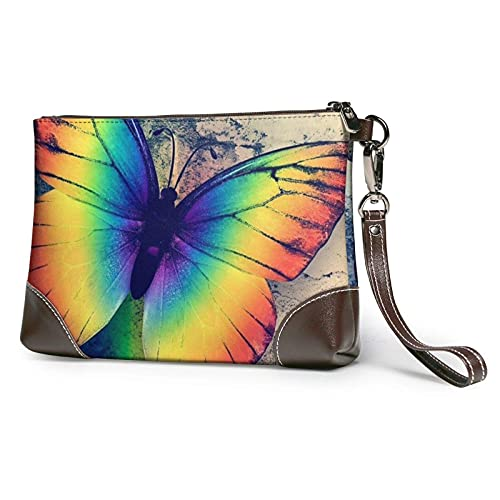 XCNGG Carteras de mano de mariposa arcoíris Bolso de mano de cuero Cartera de mano Cartera de mano Monederos para mujer