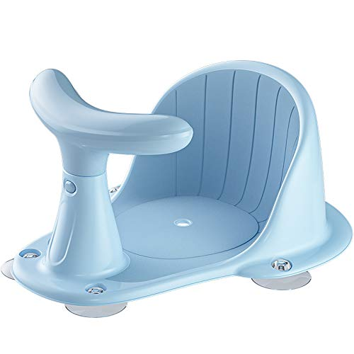 BLANDSTRS Baby Bath Seat with Thermometer, Portable Toddler Child Bathtub Seat for 6-18 Months, Light Blue