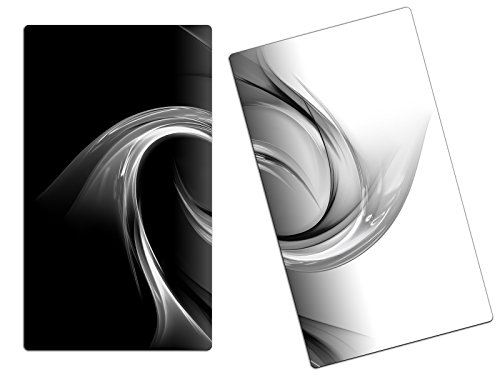 Herdabdeckplatte Schneidebrett Spritzschutz aus Glas, Multi-Talent HA46247471 Abstrakt schwarz weiß Variante 2er Set (2 Panels)
