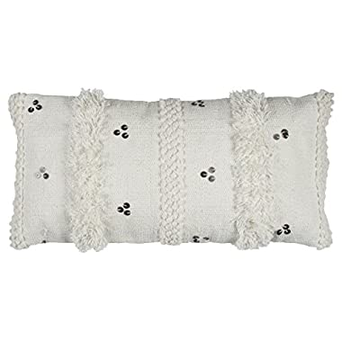 Rizzy Home PILT12146WH001426 Vertical Textured Stripe Decorative Pillow, White