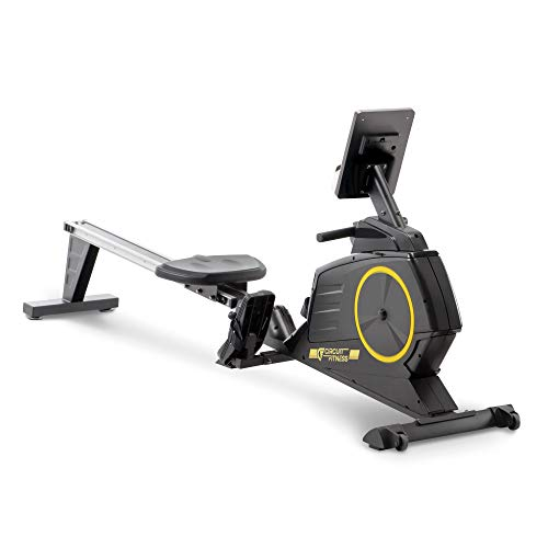 CIRCUIT FITNESS Circuit Fitness Deluxe Foldable Magnetic Rowing Machine with 8 Resistance Settings & Transport Wheels with Bluetooth