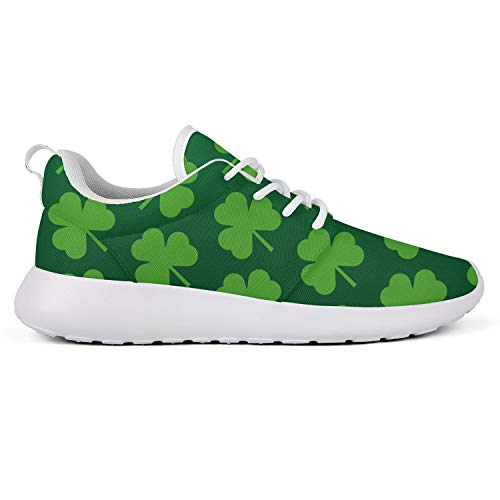 Womens St Patricks Day Sneakers Breathable Casual Sport Shamrocks Shoes Black