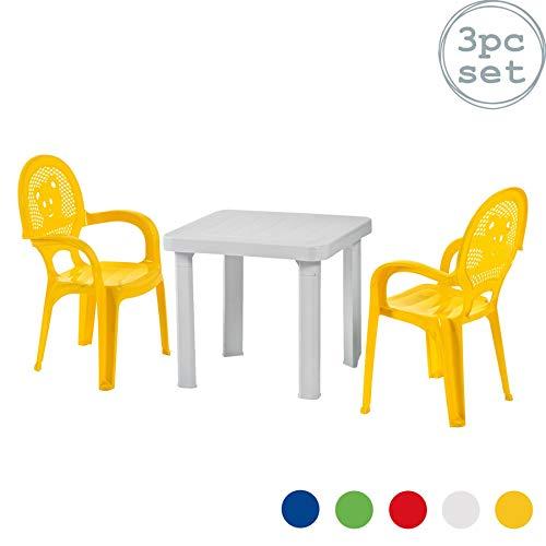 Resol Chaises et table en plastique - pour jardin/extérieur - pour enfant - chaises jaunes/table blanche - meuble pour enfant - lot de 2 chaises/1 table