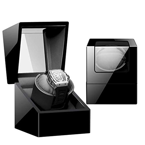 WXDP Enrollador de Reloj automático,Caja enrolladora de automática para 1 Reloj, Acabado, Motor silencioso, Adaptador de CA y 5 Modos de rotación, Funciona