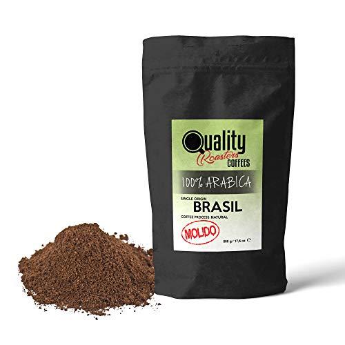 Gemahlener Kaffee. 100% Arabica. Einzigartige Herkunft Brasilien. Mittlere Röstkaffee. Fein gemahlen (Geeignet für Espresso, Italienisch). Packung 500 gr. Röstkaffee handwerk.