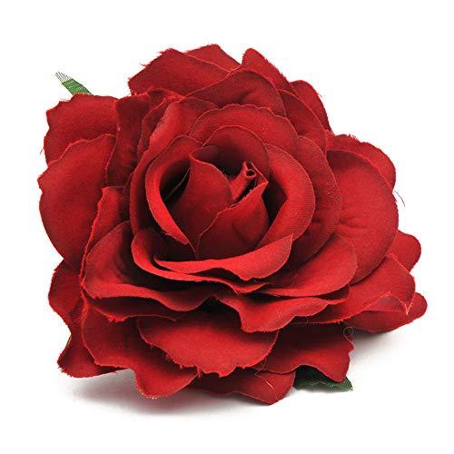 Ndier Haarschmuck 2ST künstliche Rosen Blumen Kopf Silk Rosen Blumen Simulation Köpfe Köpfe für DIY Wedding Bouquet Dekor Wine Red Rose Kleidung