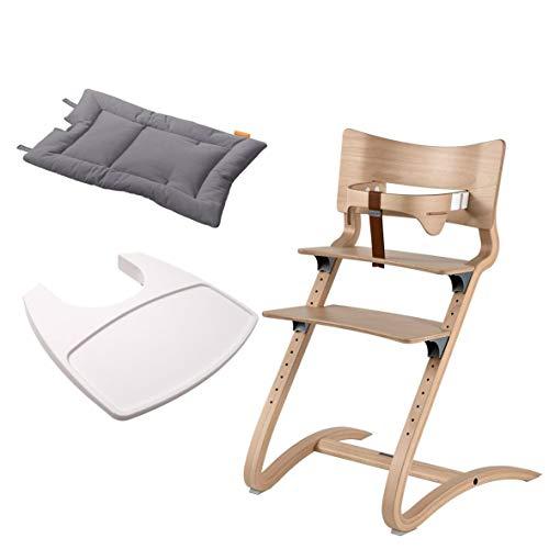 Leander Stuhl natur - Hochstuhl - Kinderstuhl - Erwachsenenstuhl mit Babybügel + Tablett weiß + Kissen cool grey