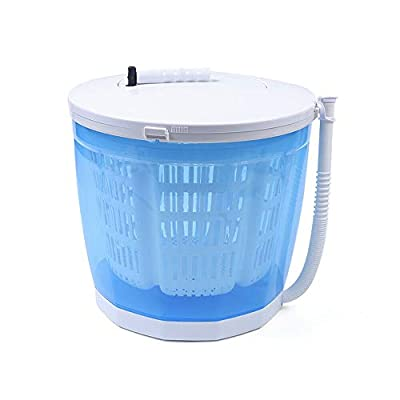 2-in-1 Mini Washing Machine and Spin Dryer Holds up to 2 kg Portable Hand Cranked Non-Electric Top Washer/Dryer for Camping, Caravans