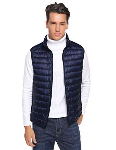 Aibrou Mens Ultra Lightweight Packable Down Vest for Early Winter Dark Blue