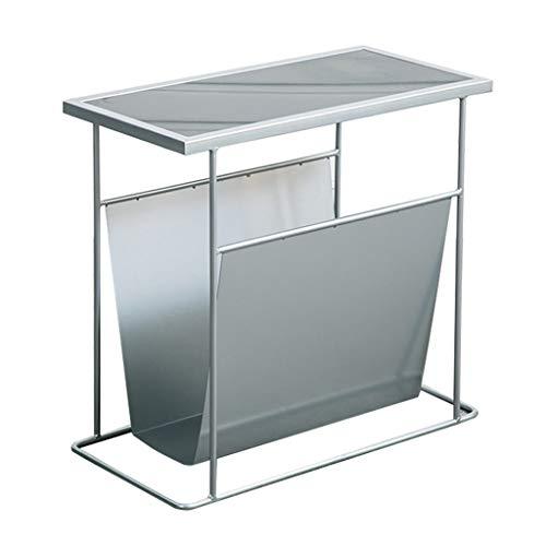Mesa auxiliar estrecha con mesa de centro de hierro forjado, marco de línea de metal sólido, tablero de mesa de mármol, perfecto para combinar con sofá, silla, cama, oro/plata