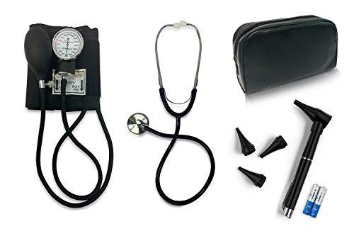 Primacare | DS-9199 Nurse Essentials Starter Kit with Handheld Travel Case | 3 Part Kit Includes Adult Aneroid Sphygmomanometer Blood Pressure Monitor, Stethoscope, Mini Diagnostic Otoscope | Black