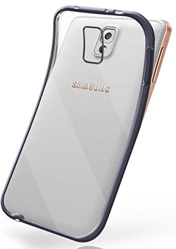 moex Transparente Silikonhülle im Chrome-Style kompatibel mit Samsung Galaxy Note 3 | Flexibler Schutz mit Hochglanz Metallic Rahmen, Anthrazit