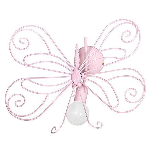 DECOLAND 3931 Lampadario da Parete/soffitto, applicque per cameretta Bambini, per Bimba, Farfalla1 Rosa.