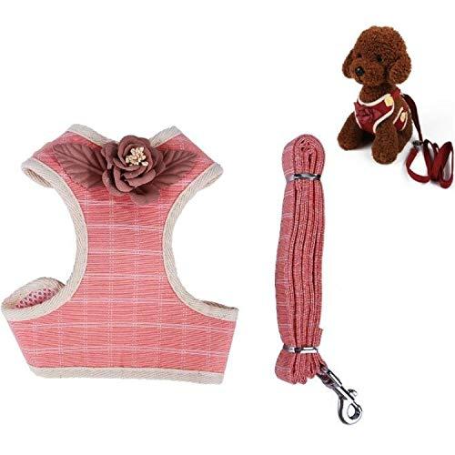 LJYNB Huisdier riem 2 PCS Hond Leashes Borstbanden Kleine Medium Honden Vest Hond Supplies, Maat: M(Pink) Kom uit veilig en mooi, roze