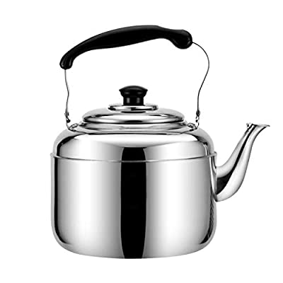 Whistle Tea Kettle For Stovetop, Ergonomic Stainless Steel Teapot, 3L-10L Large Capacity, Suitable For Tea Coffee Or Milk (Color : Silver, Size : 3L)