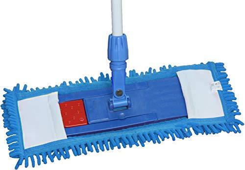 limpando 1x Bodenwischer Ersatzbezug - Chenille Wischbezug blau - Wischmopp Chenille aus Mikrofaser für empfindliche Böden - Microfaser-Mopp zur Bodenpflege für alle Mopp-Klapphalter 40 cm