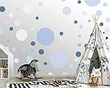 100 wandtattoo Punkte wandsticker Kreise fürs Kinderzimmer - Set Farben, Dots Kleben Wandaufkleber Wanddeko - Wandfolie Kleinkinder, Erstausstattung Rauhfaser Ozeanblau - Graugrün - Flieder - Hellrose