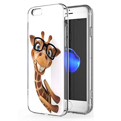 Pnakqil Copertura del Telefono compatibile con Apple iPhone 6 / 6s Cover,Morbido Silicone TPU Trasparente Ultrasottile Anti-caduta Antiurto Impermeabile per Apple iPhone 6 / 6s,Giraffa