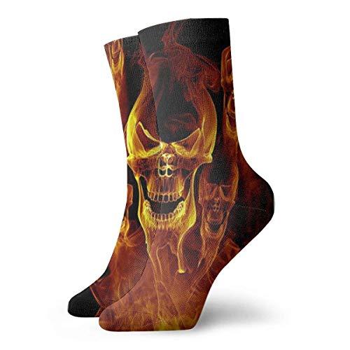 Unisex-Socken mit roter Flamme und Skelett-Totenkopf, atmungsaktiv, für Laufen, Wandern, Sport, Athletik, 30 cm