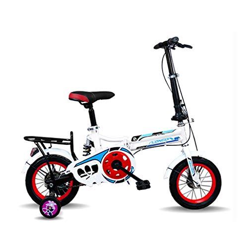 Bxiao 12-inch kindervouwfiets, ultralicht draagbaar heren en vrouwen primaire en secundaire school fietsen, voorstuur opvouwbare stoel stuur verstelbaar